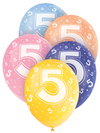 Unique Party - 12 inch Assorted Latex Balloon - Age 5 (Pack of 5)