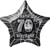 Unique Party - 20 inch Star Foil Balloon - 70th Birthday - Black/Silver Cover