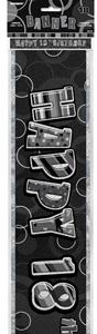 Unique Party - Black-Silver Glitz Foil Banner - 18th Birthday - Cover