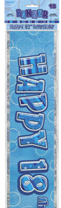Unique Party - Blue Glitz Foil Banner - 18th Birthday - Cover