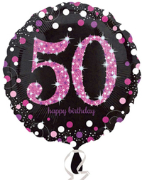 Anagram - 18 inch Circle Foil Balloon - Pink Celebration 50th Birthday - Cover