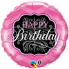 Qualatex - 18 inch Round Foil Balloon - Birthday - Pink/Black