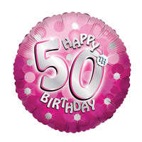 Anagram - 18 inch Holo Everts Foil Balloon - 50th Birthday - Pink - Cover