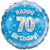 Oaktree - 18 inch Foil Balloon - Happy 70th Birthday Blue Holographic Cover
