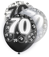 Unique Party - 12 inch Latex Balloon - 70 - Black (Pack of 6) Cover