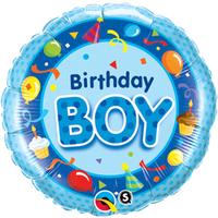 Qualatex - 18 inch Round Foil Balloon - Birthday Boy - Blue - Cover