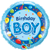 Qualatex - 18 inch Round Foil Balloon - Birthday Boy - Blue