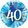 Qualatex - 18 inch Round Foil Balloon - 40th Birthday - Shining Star Bright - Blue Cover