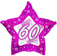 Creative Party - 18 inch Pink Star Balloon - Age 60 - Cover
