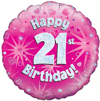 Oaktree - 18 inch Foil Balloon - Happy 21st Birthday Pink Holographic - Cover