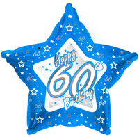 Creative Party - 18 inch Blue Star Balloon - Age 60 - Cover