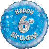 Oaktree - 18 inch Foil Balloon - Happy 6th Birthday - Blue Holographic