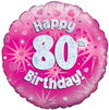 Oaktree - 18 inch Foil Balloon - Happy 80th Birthday - Pink Holographic
