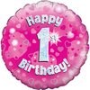 Oaktree - 18 inch Foil Balloon - Happy 1st Birthday - Pink Holographic
