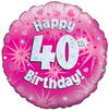 Oaktree - 18 inch Foil Balloon - Happy 40th Birthday - Pink Holographic