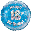 Oaktree - 18 inch Foil Balloon - Happy 18th Birthday - Blue Holographic