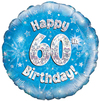 Oaktree - 18 inch Foil Balloon - Happy 60th Birthday - Blue Holographic Cover