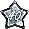 Creative Party - 18 inch Black/Silver Star Balloon - Age 40 Cover