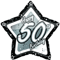 Creative Party - 18 inch Black/Silver Star Balloon - Age 50 - Cover
