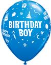 Qualatex - 11 inch Dark Blue Latex Balloon - Birthday Boy (Pack of 6)
