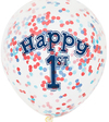 Unique Party - Clear 12 inch Nautical 1st Birthday Confetti Balloons (Pack of 6) Cover