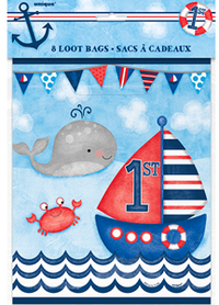Unique Party - Nautical 1st Birthday Loot Bags (Pack of 8) - Cover