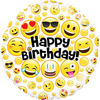 Oaktree - 18 inch Circle Foil Balloon - Emoji Birthday