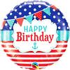 Qualatex - 18 inch Round Foil Balloon - Happy Birthday - Nautical & Pennants Cover