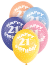 Unique Party - 12 inch Assorted Latex Balloon - 21st Birthday (Pack of 5) Cover