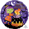 Anagram - 18 inch Circle Foil Balloon - Halloween Witch & Cauldron