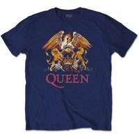 Queen Classic Crest Men's Navy T-Shirt (Small) - Cover