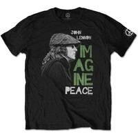 John Lennon Imagine Peace Men's Black T-Shirt (Large) - Cover