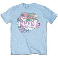 John Lennon Rainbows, Love & Peace Men's Light Blue T-Shirt (Medium) - Cover