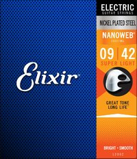 Elixir 12002 Nanoweb 0-42 Super Light Nickel Plated Coated Electric Guitar Strings (Pack of 3) - Cover