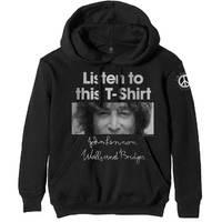 John Lennon Listen Women's Black Hoodie (X-Large) - Cover