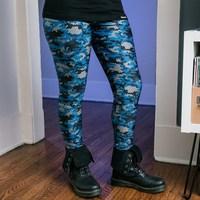 J!Nx Camo Womens Leggings - Blue (Small) - Cover