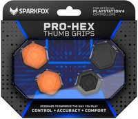 SparkFox Pro-Hex Thumb Grips - Black/Orange (PS4) - Cover