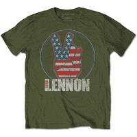 John Lennon Peace Fingers US Flag Men's Green T-Shirt (Large) - Cover