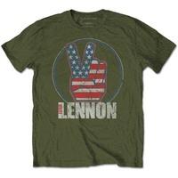 John Lennon Peace Fingers US Flag Men's Green T-Shirt (XX-Large) - Cover