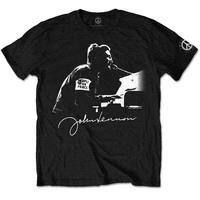 John Lennon People For Peace Men's Black T-Shirt (X-Large) - Cover