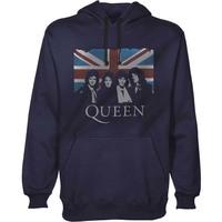 Queen Vintage Union Jack Men's Pullover Navy Hoodie (Medium) - Cover