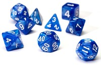 Sirius Dice - Set of 7 Polyhedral Dice - Pearl Blue & White - Cover