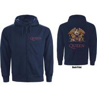 Queen Classic Crest Backprint Men's Navy Zip-up Hoodie (Small) - Cover