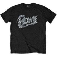 David Bowie Flash Logo Diamante Men's Black T-Shirt (Medium) - Cover