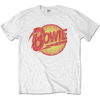 David Bowie Vintage Diamond Dogs Logo Men's White T-Shirt (Medium) - Cover
