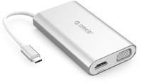 Orico - USB Type-C HDMI/VGA/RJ45/USB 3.0 Docking Station - Aluminium Silver