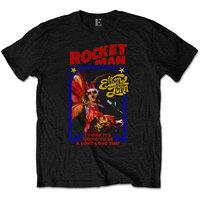 Elton John - Rocketman Feather Suit Mens Black T-Shirt (Large) - Cover