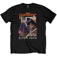 Elton John Captain Fantastic Men's Black T-Shirt (Medium) - Cover