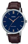 Casio Enticer Analogue Mens Wrist Watch - Silver and Blue Face