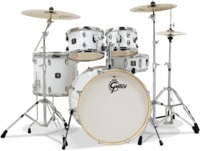 Gretsch GE46055W Energy Series 5pc Acoustic Drum Kit with Hardware and Meinl Cymbals - White (20 10 12 14 14 Inch) - Cover